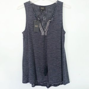 W5 Anthropologie |Navy Blue Striped Sleeveless Top